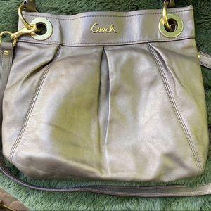 Coach Metallic Bronze Leather Shoulder/Hand Bag